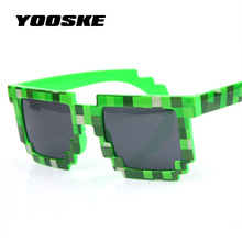 YOOSKE 2pcs Minecraft Glasses 8 bit Pixel Women Men Sunglasses Female Male Mosaic Sun Glasses kids Boys Girls Vintage(China)