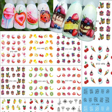 1Sheet Nail Sticker Cake/Fruit Pattern Nail Art Water Transfer Decals Beauty Water Tattoo Stickers Manicure Decor LASTZ489-500