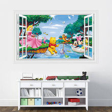 Cartoon Characters 3D Wall Sticker PVC Mural Wall Decals Kids Bed Room Decor Mickey Winnie Play at River