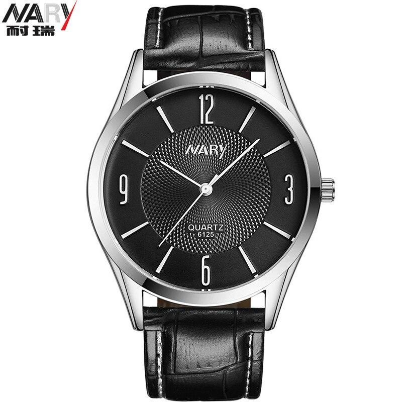 Nary Brand Exquisite Men Fashion Leather Watches Mens Movement Quartz-Watch Waterproof Erkek Kol Saati relogio masculino<br><br>Aliexpress
