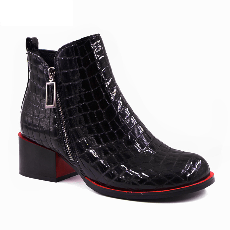 Hot sale Women Boots 17 New Fashion Shoes Woman Genuine Leather black Ankle Boots Winter Warm Wool Snow Square heel Boots 7