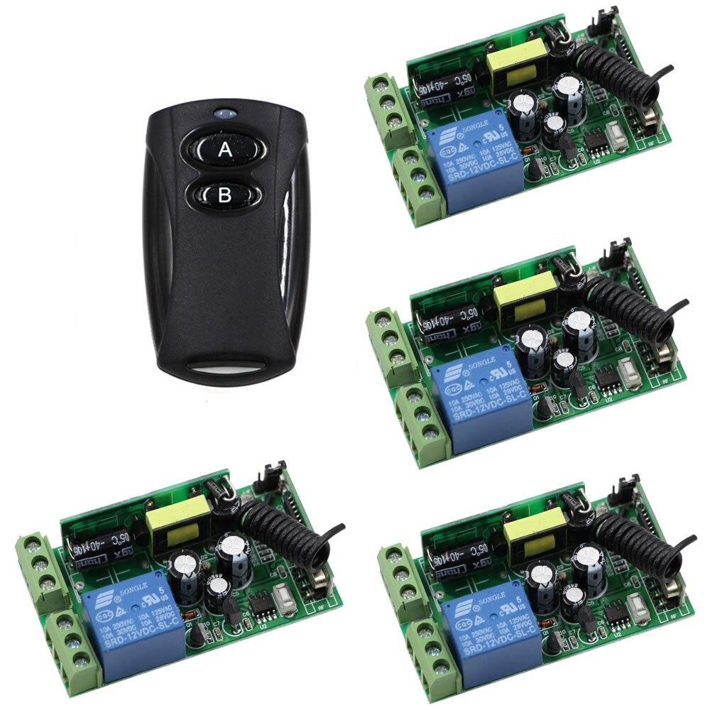 Hot Selling AC 85V 110V 220V 250V Wide Voltage 1CH RF Wireless Remote Switch 4 Receiver and Black 2Keys Transmitter 315/433Mhz<br>