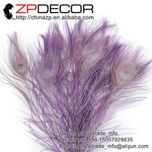 ZPDECOR 50pcs/lot 25-30cm(10-12inch) Premium Quality Beautiful Decolorizing Lavender Dyed Peacock Feathers Sale For Wedding