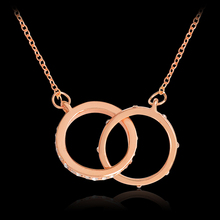 Gold&Rose Color Round Starburst Necklace Double Circle Pendant Crystal Link Necklace  Collar Women Jewelry