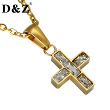 D&Z Gold Color Women Paving Crystal Cross Necklace Bling New Orthodox Crucifix Pendant Necklace for Wedding Accessories(China)