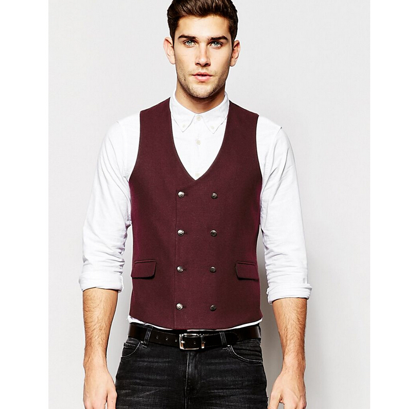 45 (1) Hot Sale Custom Made Modern Fit Suit Separate Vest Slim Waistcoat In Burgundy Business Vests For Man