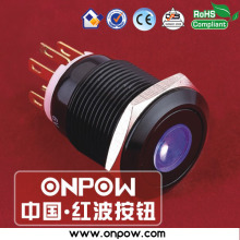 ONPOW 19mm stainless steel momentary dot illuminated pushbutton switch LAS1GQ-11D/B/12V/A