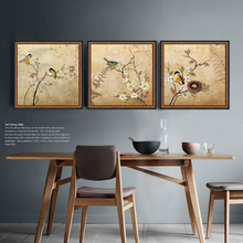 Retro bird branch digital synthesis decorative wall art artist 3 piece canvas art shipping cuadros modernos posters and prints