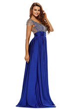 Women Stage Dance Wear cocktail parties Floor-Length dinner Party Dress Cocktail Amazing Gold Lace Overlay Slit Maxi Gown 60809