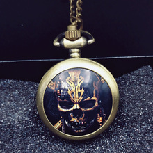 Pirates of the Caribbean Gold Skull Pocket Watch Necklace Silver Bronze Good Quality Fashion Fob Watches New Hot Selling Movie