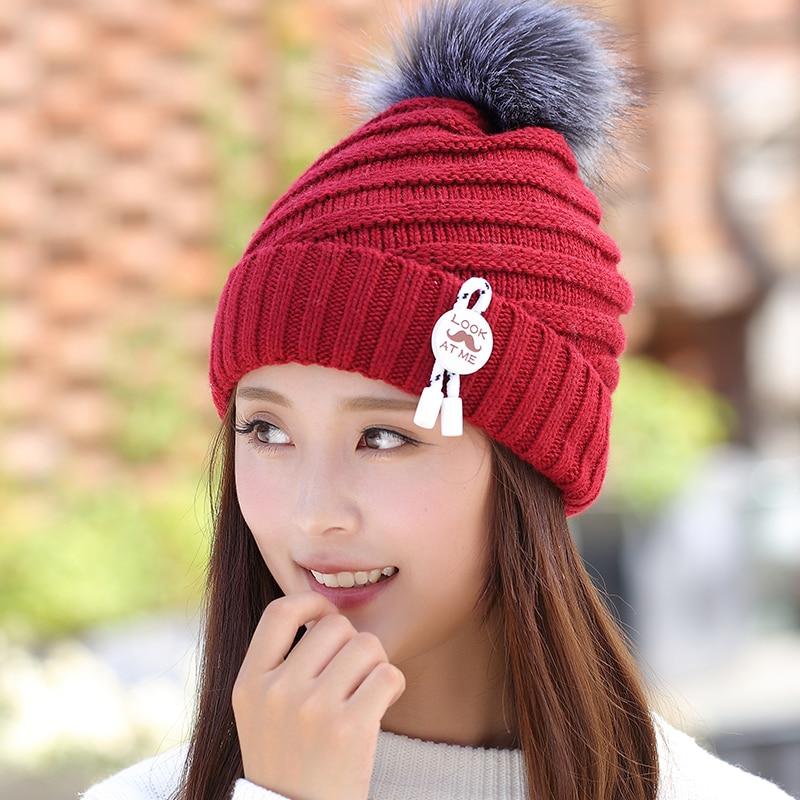 Winter hat womens plus velvet thickening cap thermal knitted hat ear protector cap yarn pocket hat Îäåæäà è àêñåññóàðû<br><br><br>Aliexpress