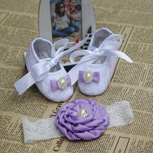 Newborn Baby Girl Shoes Brand,Toddler Infant Fabric Baby Booties Headband Set,Little Girl Baby Walker First Shoe,kids accessorie(China)