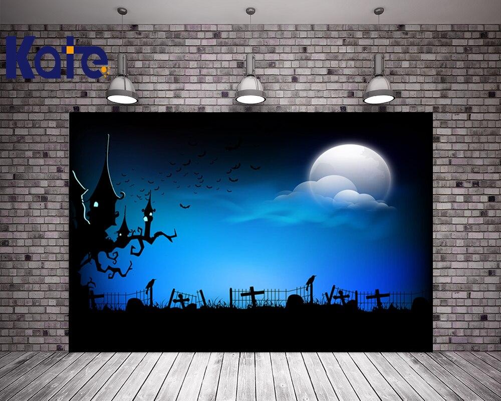 Kate Blue Halloween Backdrop Photography Big Moon Bat Castle Background For Children Photo Backgrounds<br>