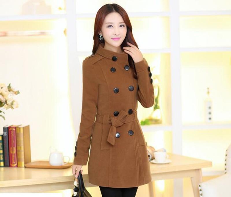 2016 New Women Trench Woolen Coat Winter Slim Double Breasted Overcoat (6)