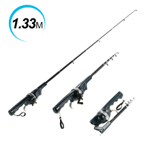 133cm Folding Mini Telescopic Fishing Pole Combo Fishing Spinning Rod Fiberglass Fishing Rod Reel Lure Fish Tackle Set + Line