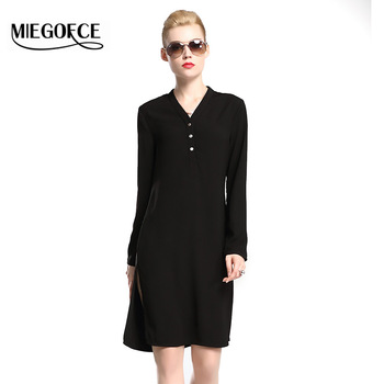 Miegofce 2016新しい秋コレクション女性長袖dressロングドレスとvネックネックラインを取り付けたジャケットチュニックホット販売