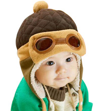 Cute A Hat for A Boy Baby Caps 2017 Winter Hats For Children Kids Boys Warm Pilot Baby Caps Warm Hat Beanie Children's Hats(China)
