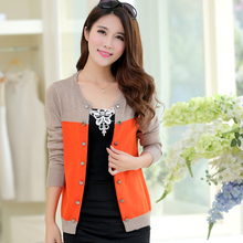 2016 New Women's Fashion Stitching Korean Double-Breasted Cashmere Sweater Small Cardigan Short Coat Authentic Free Shipping