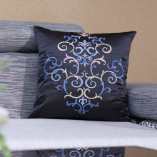 Damask Embroidered  Cushion Classic Faux Silk Embroidery Cojines Blue Ground For Home Decorative And Sofa