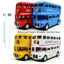 Hot sale super cool ! 1 :50 Alloy double-decker bus pull back sound and light model car toy,Children's favorite,Free Shipping