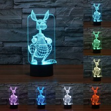 Creative 3D light 7 Color table desk lamp kangaroo Led Night Lamps for Kids Touch USB Table Lampara nightlight for kids IY803816(China)