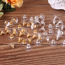 50 pcs Silicon Stud Earring Back Stoppers Ear Post Nuts Jewelry Findings And Components Gold and Silver Color