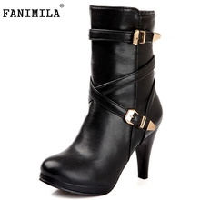 Free shipping ankle half short boots women snow fashion winter warm boot footwear high heel shoes P14720 EUR size 32-48
