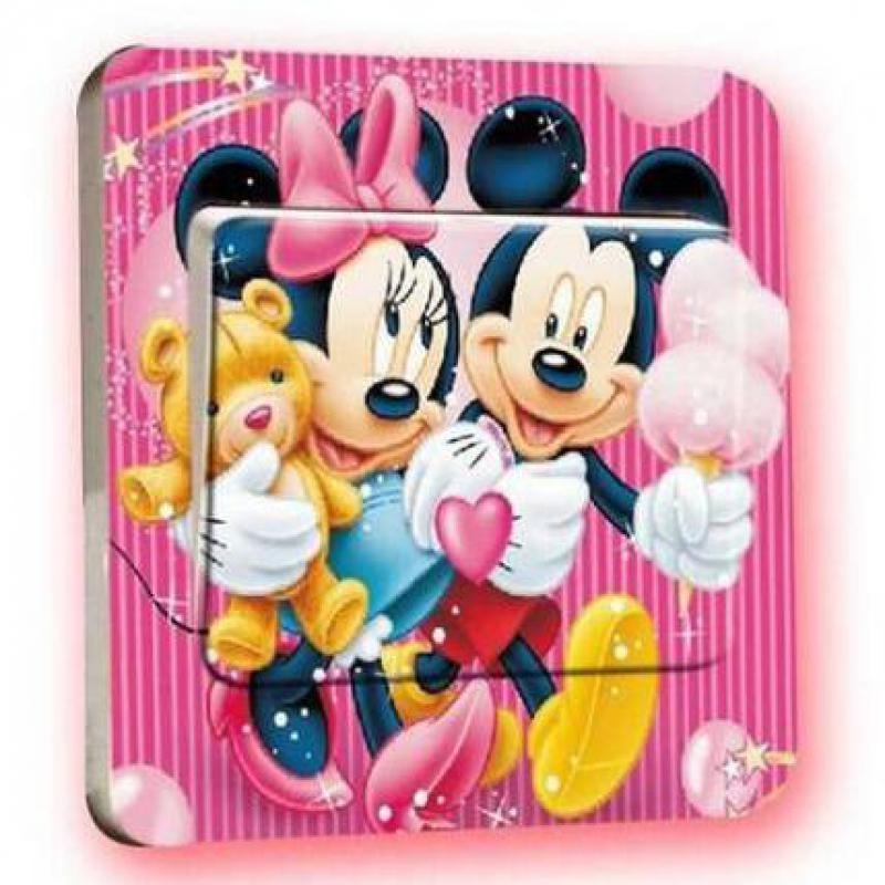 HTB1FJkudxSYBuNjSspjq6x73VXaY - 1 pcs Cute Mickey Mouse Donald Duck Light Switch Stickers-Free Shipping