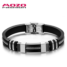 MOZO FASHION Men Jewelry Silver/Black/Golden Simple Bracelet Stainless Steel Wire Rope Silicone Bracelet Rubber Wristband MPH793(China)