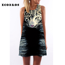 Buy ECOBROS 2017 New Woman Summer Dress casual sleeveless Loose animal leopard print mini dresses plus size woman clothing dress for $7.99 in AliExpress store