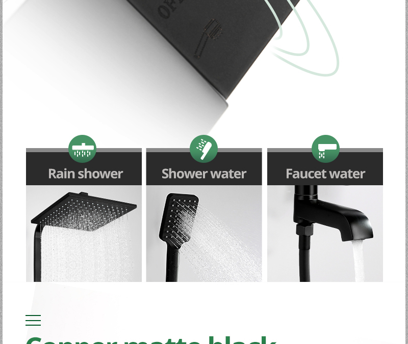 hm vintage Bathroom Black Shower Set Wall Mounted 10 Rainfall Shower Mixer Tap Faucet 3-functions Mixer Valve set System (19)