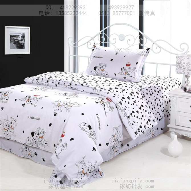 Dog Print Bedding Sets Cotton Bed Sheets Bedspread Kids Cartoon Twin Size Children Toddler Baby Quilt