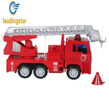 LeadingStar Car Toys Children Inertial Aerial Ladder Fire Truck Simulation Water Spray Fire Truck with Extending Ladder zk30(China)