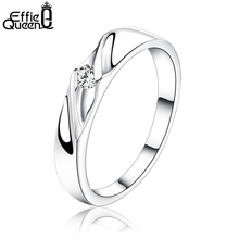 Effie Queen  New Fashion  TOP Class 1 pcs Rhinestones Eternity Band Wedding Ring  female Jewelry WR07