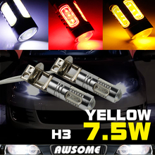 2x COB Chip H3 7.5W 12/24V Car LED DRL Day Driving Daytime Running Fog Headlight Auto Lighting Bulb White Red Yellow Amber
