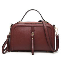 Womens Retro Tote Handbag Leather Shoulder Bag Spring/Summer Cross Body Hand Bag Black/Wine Red(China)
