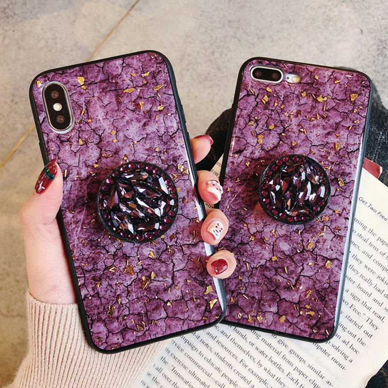 Green emerald marble pattern diamond extension bracket shiny silicone cover case for iphone MAX XS XR 6 S 7 8 plus X phone cases (1)