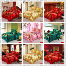 Luxury Chinese Oriental Traditional Dragon phoenix Print bedding set Jacquard satin bedclothes full queen king quilt duvet cover