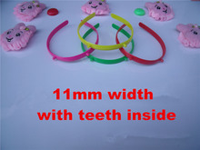 Wholesale 50pcs/lot DIY 11mm plastic headband with teeth/horn holder candy color DIY Craft tools Jewelry Hair Accessories DIY876