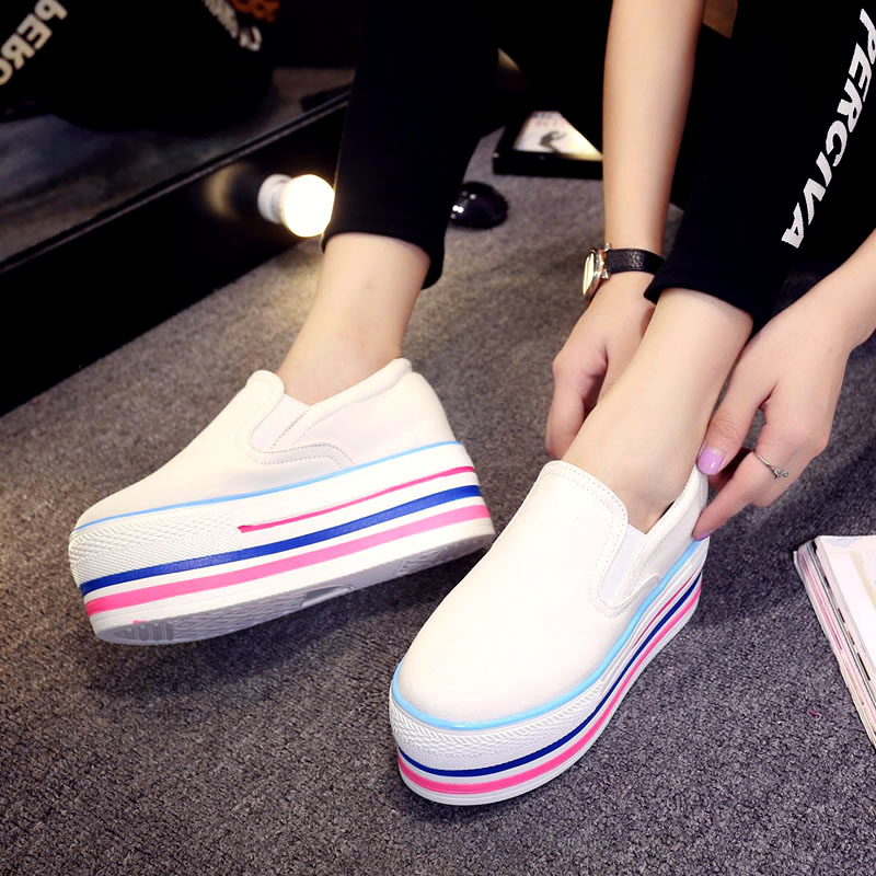 2016 Women Platform Shoes casual High Woman Fashion Colorful Thick Bottom Canvas Loafers Zapatos Mujer Autumn<br><br>Aliexpress