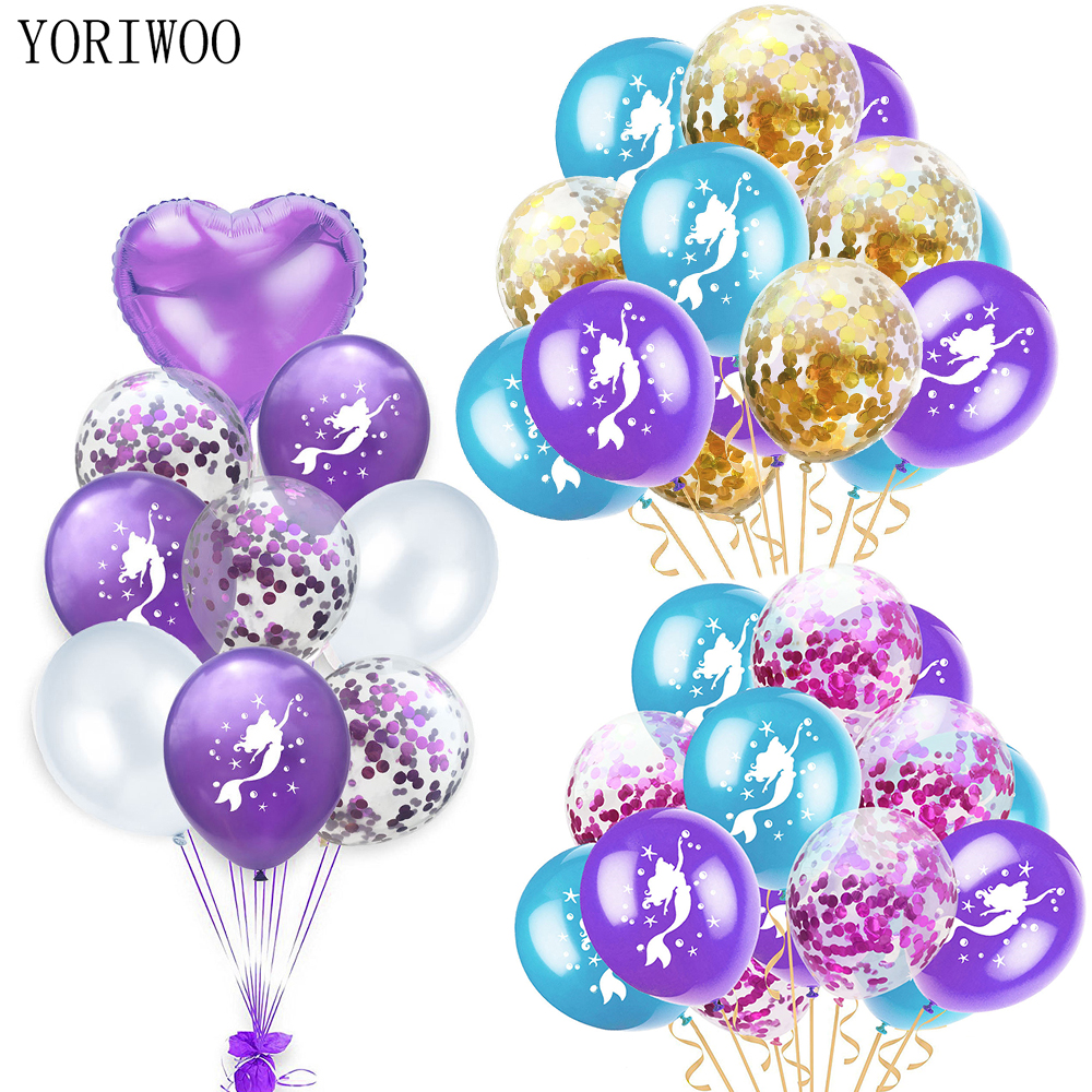 The Little Mermaid Happy Birthday Childrens Party Lilac Turquoise Latex Balloons