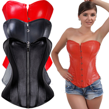 Gothic Punk Black Faux Leather Plus Size Steampunk Corset Overbust Waist Trainer Corselet Sexy Corsets And Bustiers S-6XL(China)