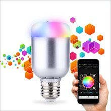 RGBW LED Light Bulb E27 B22 6W Wireless Bluetooth 4.0 Control Music Audio Energy Saving Smart Lamp Bulb RGB Lighting AC110-240V(China)