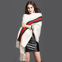 Good Quality Soft Blends Core Spun Yarn Shawl Long Tassels Coat Cape Sleeved Pashmina Wraps Women Spring Autumn Collection