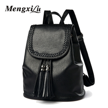 Fashion Weave Women Backpacks High Quality Youth PU Leather Backpacks For Teenage Girls Mochil Tassel Female School Bag Travel