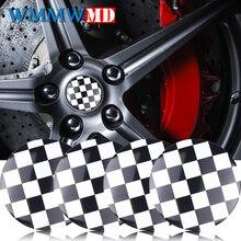 4pcs/lot Car Styling 56mm Black White Lattice Car Wheel Center Stickers Hub Cap Emblem Cover Ford FIAT Audi BMW Nissan Honda