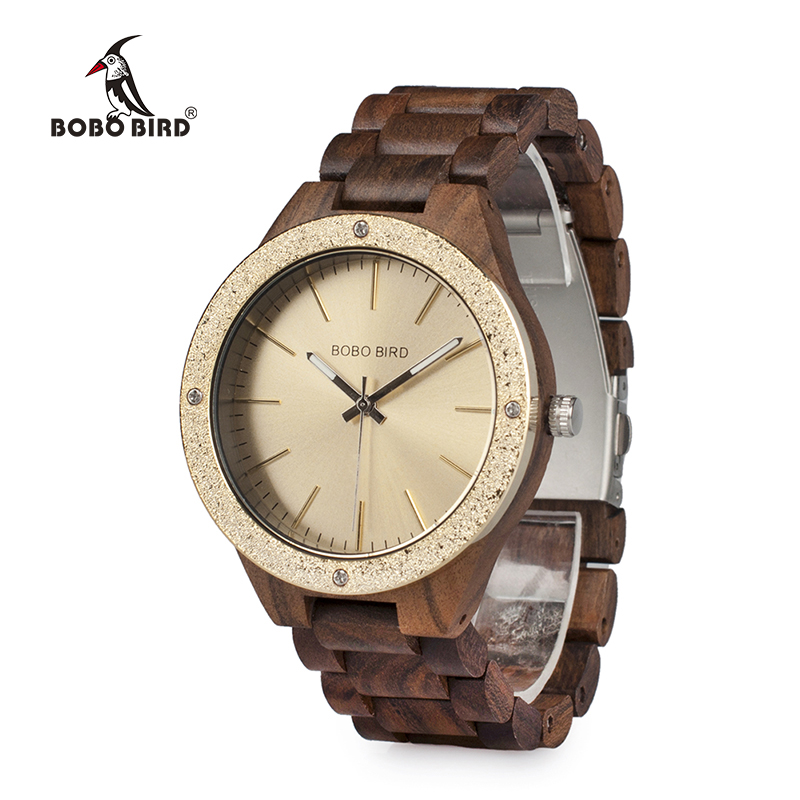 BOBO BIRD WP05 Mens Wood Watch Wooden Band Newest Brand Design Luxury Metal Face Quartz Watches in Wooden Box OEM<br>