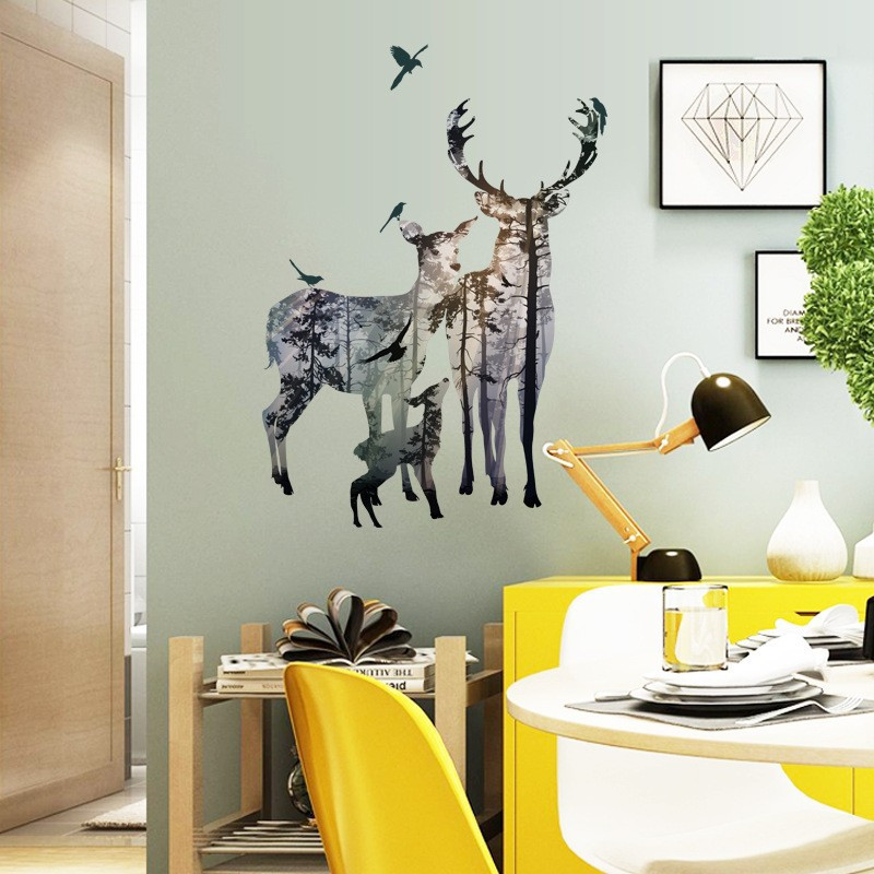 HTB1FJz6dlDH8KJjSspnq6zNAVXae 3d View Nature Forest Deer Wall Stickers Home Decor Living Room Office Decoration Pvc Wall Decals Poster Diy Mural Art