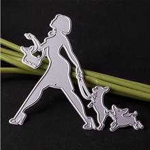 Metal cutting dies fashion modern lady girl with dog for card Scrapbook album paper craft embossing stencil shopping lady
