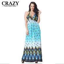 Plus Size Maxi Dress 2017 New M-6XL Sexy V-neck Beach Dress Resort Wear Slim Summer Dress Vacation Large Size 6XL 5XL 4XL XXXL(China)